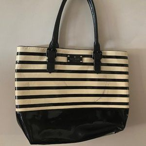 kate spade striped large patent leather tote